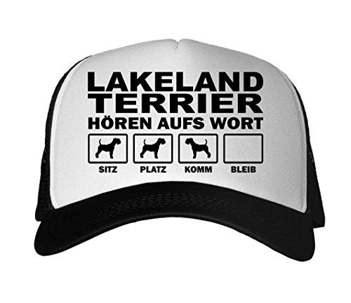 SIVIWONDER CAP MESH - LAKELAND TERRIER Jagd Jagdhund - HÖREN aufs WORT - Baumwoll Trucker schwarz Lakeland Cap