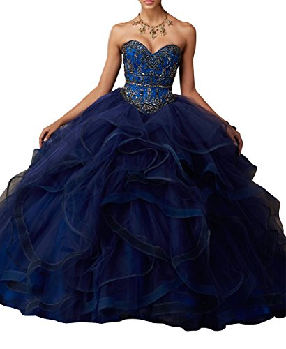 Bridal_Mall Damen Schatz Ansatz Rüsche Ballkleid Quinceanera Kleider Navy Blau