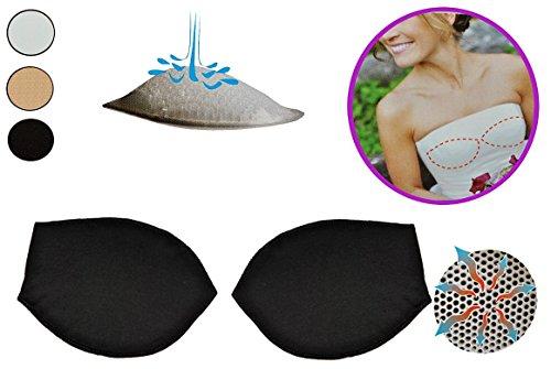 Preisvergleich Produktbild 2 tlg. Set - BH Einlagen / Schalen aus Silikon - mit Push Up Effekt - Brusteinlage Einlage - Größe M - in Schwarz - Baumwolle