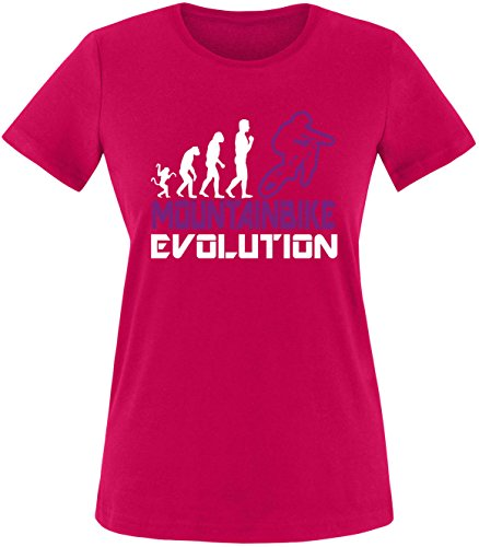 EZYshirt® Mountainbike Evolution Damen Rundhals T-Shirt Sorbet/Weiss/Violett