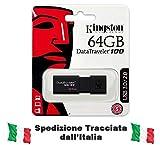 Kingston DT100G3/64GB Datatraveler 100 G3 Memoria USB portatile 65536 MB
