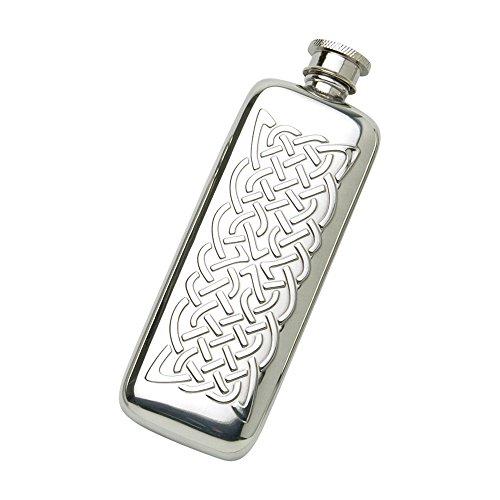 Edwin Blyde & Co Taschenflasche mit traditionellem keltischen Seil-Design, Prägung und Weiche Ecken, Zinn, ca. 90ml -