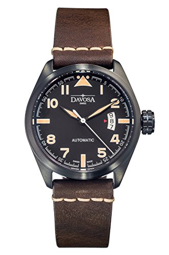 Davosa Automatic Brown Leather Strap Black Face Vintage Military Wrist Watch