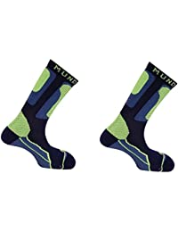 Pack Roller: 2 Calcetines Mund Roller Antibacterias, con Rizo diseñado, los pies diferenciados y sin Costuras (Azul Marino,…