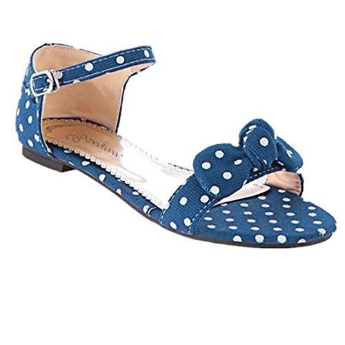 Amlaiworld Süße Polka Dot Bow Schuhe Hofdamen kurze Hasp weiblichen Sandalen Blau