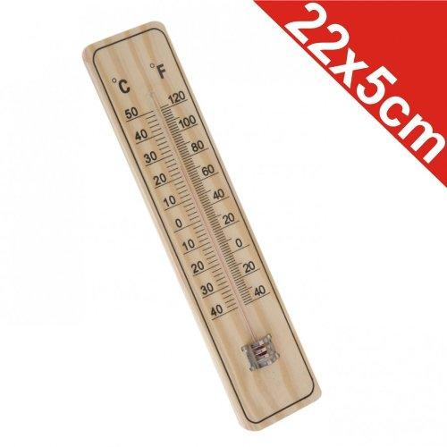 Holz Innen Thermometer (Thermometer Außenthermometer 22x5cm Holz Grad Fahrenheit Innen Außen)