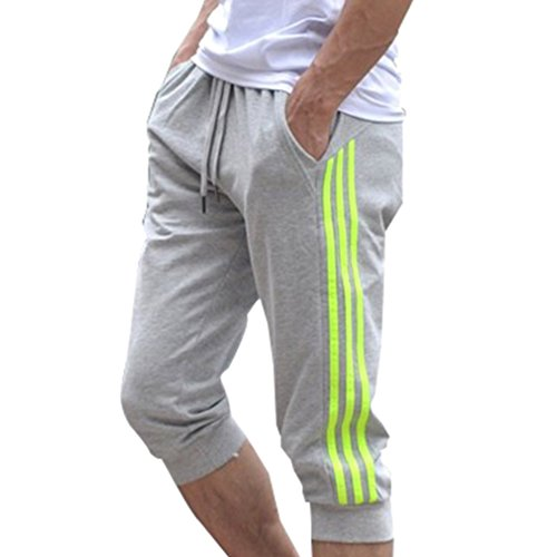 Hibote Männer Sport Sweat Hosen Shorts 3/4 Jogginghose Gym Cotton Casual Hosen M-2XL (2XL, Gelb)