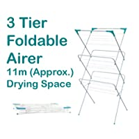 Concertina 3 Tier Foldable Clothes Airer Laundry Towel Dryer Baby Kids Indoor Outdoor Patio