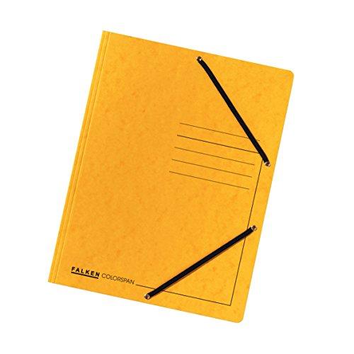 Falken Premium Einschlagmappe aus extra starkem Colorspan-Karton mit 3 Innenklappen und 2 Gummizügen für DIN A4 gelb Juris-Mappe Sammelmappe Dokumentenmappe ideal fürs Büro und die mobile Organisation