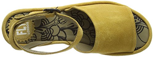 FLY London Booz636fly, Sandales Compensées Femme Jaune (Mustard 003)