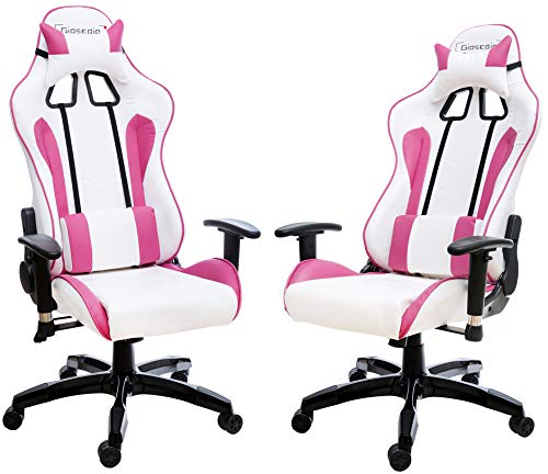 Giosedio GSA212 Weiß/Rosa Ergonomisch Gaming PC Stuhl, Chefsessel mit verstellbarer Rückenlehne und Armlehnen. Racing Bürostuhl Komfortabler Bürostuhl in sportlicher Racer Optik. (Weiß/Rosa)