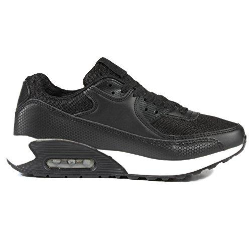 Damen Herren Unisex Sportschuhe Neon Runners Laufschuhe Sneakers Schwarz Weiss
