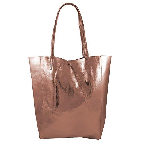 Damen Echtleder Shopper mit Innentasche in vielen Farben Schultertasche Henkeltasche Metallic look Roségold Metallic
