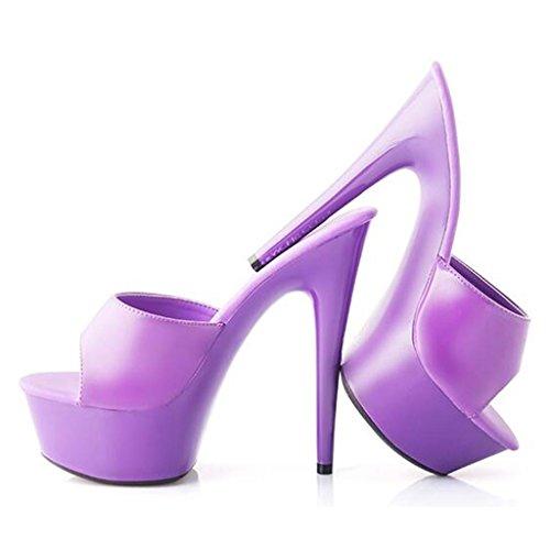 W&LMTacco alto Scarpe Un font sandali Pantofole eccellenti Piattaforma impermeabile Spessore inferiore sandali all'aperto Posto di lavoro Sala da ballo Purple