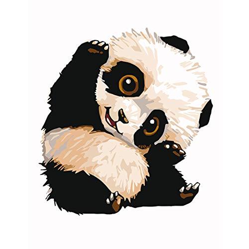 Rolanli DIY Ölgemälde, Ölgemälde Malen Nach Zahlen für Dekorationen Geschenke (ohne Rahmen) - Panda