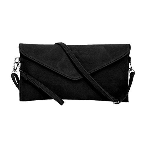Faux-leder-schulter-handtasche (Jieway Frauen Faux Suede Abend Clutch Tasche Schulter Handtasche Messenger Umschlag Taschen (Klein Schwarz))