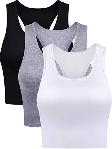 Baumwolle Basic Ärmellos Racerback Kurz Sport Crop Top für Damen Mädchen Tägliches Tragen (Farbe Set 1, Groß) ()