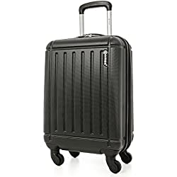5 Cities Lightweight Abs Hard Shell Cabin Luggage Suitcase Approve For Ryanair Easyjet British Airways & More Koffer, 55 cm, 32 liters, Schwarz (Black)