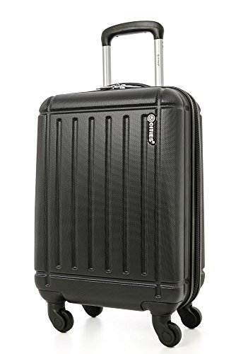 5 Cities Lightweight Abs Hard Shell Cabin Luggage Suitcase Approve For Ryanair Easyjet British Airways & More Bagaglio a mano, 55 cm, 32 liters, Nero (Black)