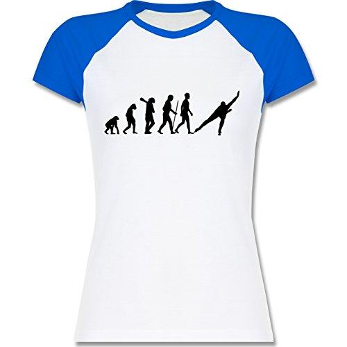 Shirtracer Evolution - Eisschnelllauf Evolution - Zweifarbiges Baseballshirt/Raglan T-Shirt für Damen Weiß/Royalblau
