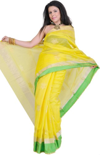 Exotic India Empire-Yellow Chanderi Saree with Hand-woven Lotuses in Go - Yellow