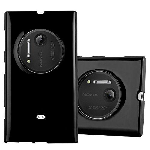 Cadorabo Custodia per Nokia Lumia 1020 in Jelly Nero – Morbida Cover Protettiva Sottile di Silicone TPU con Bordo Protezione – Ultra Slim Case Antiurto Gel Back Bumper Guscio