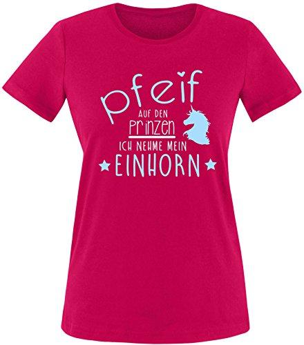EZYshirt® Pfeif auf den Prinzen ich nehme das Einhorn Damen Rundhals T-Shirt Sorbet/Weiß/Hellbl