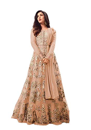 Jay Ambe Textiles Women's Net Heavy Embroidered Semi Stitched Anarkali Gown