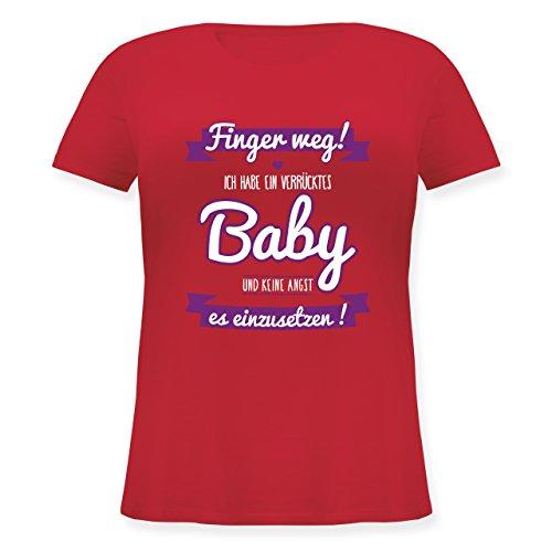 Partner-Look Familie Mama - Ich Habe EIN verrücktes Baby lila - L (48) - Rot - JHK601 - Lockeres Damen-Shirt in großen Größen mit Rundhalsausschnitt