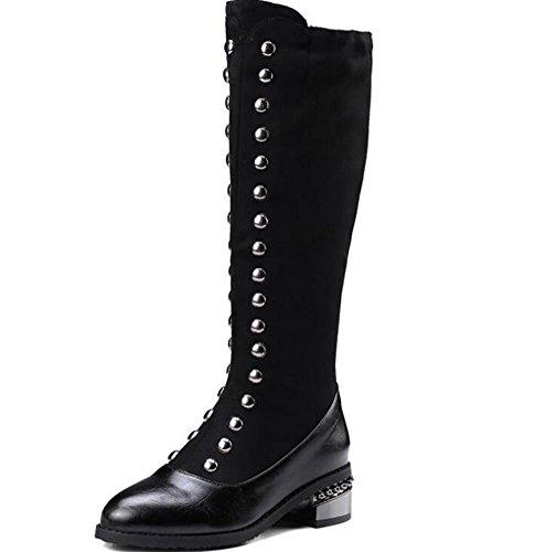 Beauqueen Chelsea Knight Boots Rivets Suede High Tube Martin Bout Rond Talon Haut Talon Latéral/Personnalisé Plus Peluche/Petit Grand Taille