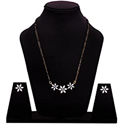 Sitashi 18 K Gold Plated White Crystal American Diamond Floral Design Fashion Jewelry Mangalsutra Set For Women