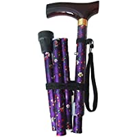 Flower Folding Walking Stick Height Adjustable with FREE wrist strap and Extra Free Ferrule (purple) by Amazing Health