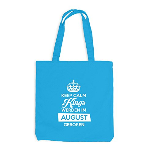 Jutebeutel - Keep Calm Kings werden im August geboren - Birthday Geburtstag Surfblau