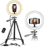 UBeesize Anneau lumineux à selfie avec trépied extensible de 127cm et support de téléphone flexible pour diff