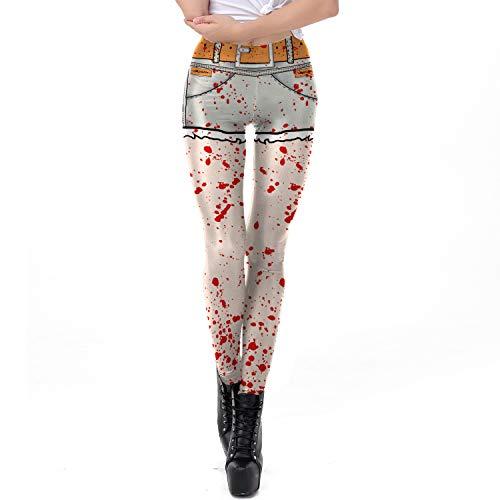 Hexe Mädchen Kostüm Wilde - Frauen Halloween Leggingsfrauen Halloween Pumpkinhalloween Kostüm Horror Blut Splash Pattern Print Wild Leggings, XL 3D