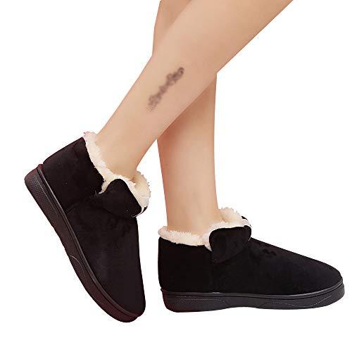 Sonnena Femmes Bottes Chaussures de Neige, Tube Court Automne Hiver Bottes Fourrées Chaudes Femmes Bottes Slip-on Soft Bottes de Neige Bout Rond Plat Fourrure Hiver Bottines