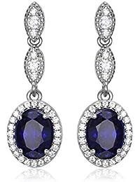 Jewelrypalace Pendientes elegante largo adornado Zafiro creado oval en plata de ley 925