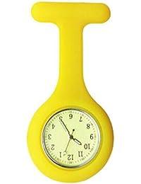 Reloj de Bolsillo de la Enfermera de la Silicona Reloj Colorido de la Enfermera del Reloj Enfermera Luminosa Pin Doctor Reloj de Bolsillo la Broche (Amarillo)