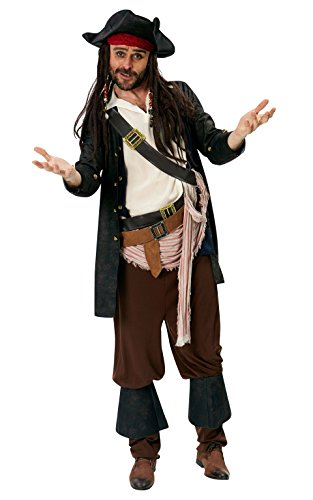 Rubie 's Offizielles Disney Jack Sparrow Erwachsenen-Kostüm Gr. X-Large – Pirates of the (Erwachsenen Sparrow Hut Jack)