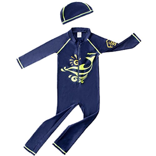 HUPLUE Baby Boys Two-Pieces Swimsuit Rash Guard Long Sleeve Surfing Swimwear Beachwear Bathing Suit UV Sun Protective