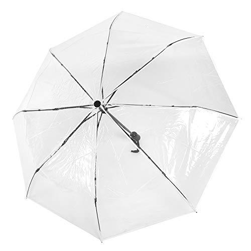 Cafopgrill ombrello automatico trasparente, portatile, tre pieghe, ombrello antivento, protezione uv per uomo, donna