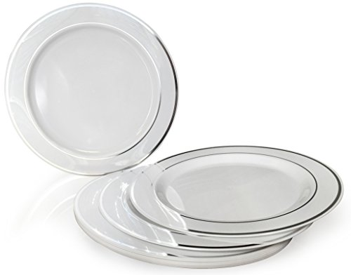 OCCASIONS Disposable Plastic Plates, White w/ Silver trim (40 pieces, 7.5'' salad/dessert plate) by OCCASIONS FINEST PLASTIC TABLEWARE Gold Trim Dessert