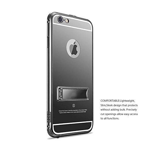 iPhone 6s Plus Hülle, iPhone 6 Plus Hülle, Vandot SPIEGEL Mirror Luxus Strass Kristall Schutzhülle für iPhone 6s Plus / 6 Plus Zurück Case Ultra Dünn Thin Metall Aluminium Back Cover Handytasche mit P Mirror Schwarz
