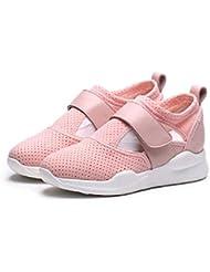 Bomba Color puro Malla Red Respirable Zapatos deportivos Zapatos casuales Mujer Velcro Tacón Plano Zapatillas Zapatos para correr Fitness Zapatos Tamaño de la UE 34-40 , pink , 36
