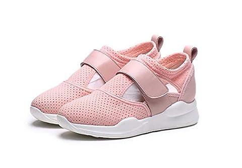 Pompe Pure Color Engrener Net Respirant Chaussures de sport Chaussures décontractées Femmes Velcro Talon plat Baskets Chaussures de course Chaussures de remise en forme Eu Taille 34-40 , pink , 36
