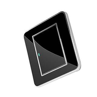NaiCasy Lichtschalter mit LED Schwarz Kristall Spiegel 1 Gang 1 Weg Gehärtetem Glas Panel Touch-Schalter Mit LED Elektrische Steckdose Panel Platte Wand Steckdose