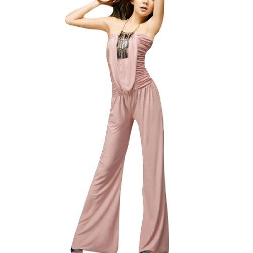 Allegra K Femme À Smocks Sans Bretelle Combinaison Ruché Combinaison Combinaison Jambes Larges Rose