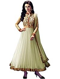 Rensila Women's White & Beige Color Banglori Silk & Net Fabric Anarkali Salwar Suit