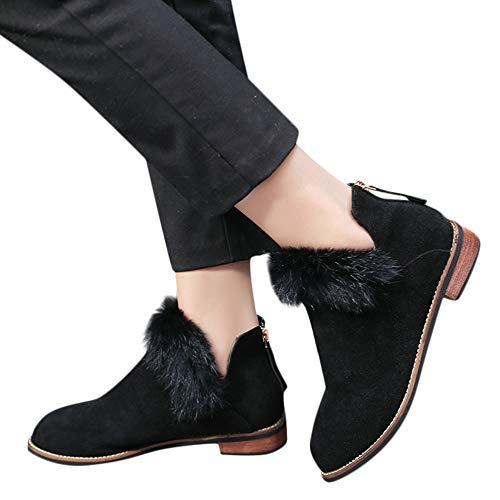 Selou Damen kurze Stiefel Elegantes Mädchen Chelsea-Stiefel Suede V Mund Winterschuhe Booties Einfarbige Wohnungen Mode schwarze Martin Stiefel Schneestiefel