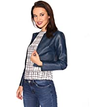 buy online 6e884 c60b4 Amazon.it: Giacca Corta Pelle Donna - Blu